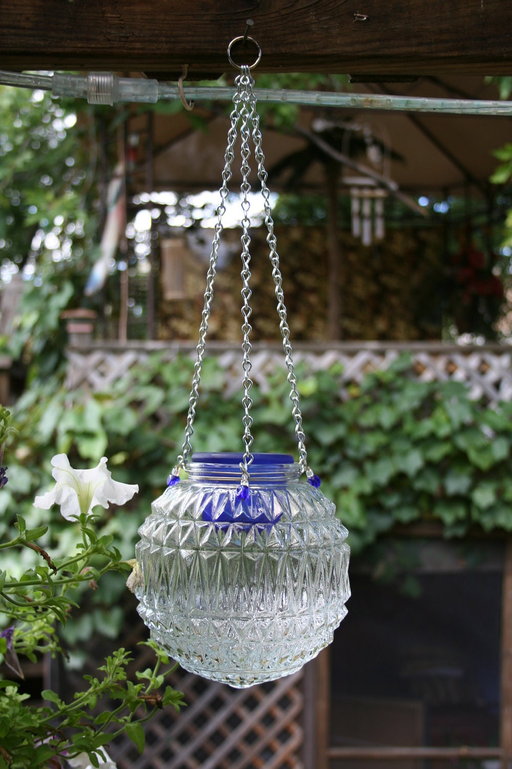 Repurposed Light Globe Hanging Candle Lantern By