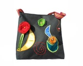 Black Bag With Flowers and Appliques Multicolor