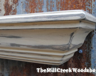 """Distressed Wall Shelf 24"""" Floating Crown Molding Ledge Shelves Fireplace Mantel Entryway Mantle Rustic Home Decor Farmhouse Barn"""