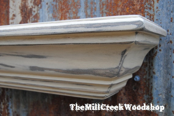 "Distressed Wall Shelf 24"" Floating Crown Molding Ledge Shelves Fireplace Mantel Entryway Mantle Rustic Home Decor Farmhouse Barn"