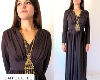 Vintage 1970's Hippie Gypsy Boho Draped Long Sleeve Empire Waist Maxi Dress. Size Md.
