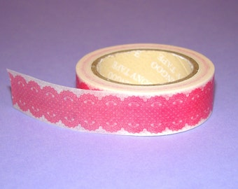 Washi Tape Roll Cute Kawaii Pink Lace Stationery Scrapbooking Sticker Deco 15mm x 10m