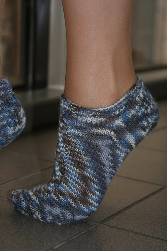 Knitted Ankle Socks Patterns Free : Hand knit ankle socks with cable detail in striped by MissGerta