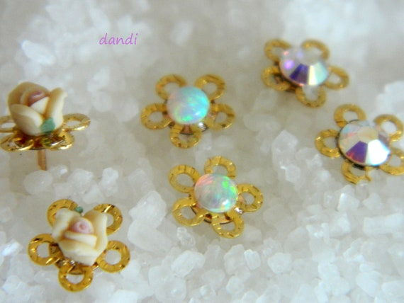 Small studs Flower earring ,With a Vintage Rose,White opal stone, Or Swarovski AB Crystal - Free Shipping- Spring Celebrations