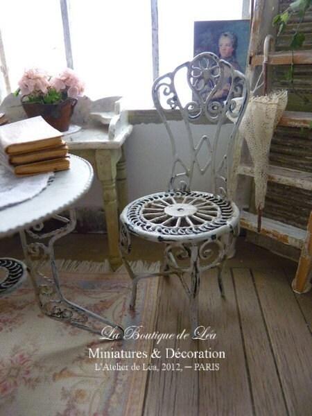 Chaise de jardin romantique à la française Gris gustavien