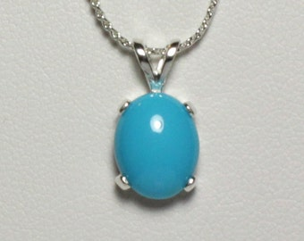 Natural 3.1ct Sleeping Beauty Turquoise Sterling Silver Necklace / Pendant - FREE CHAIN