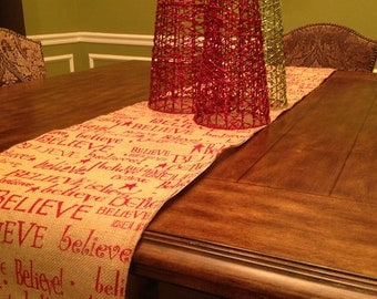 Burlap Christmas Table Runner