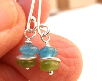 Dangle earrings, sterling earrings Blue and green agates earrings - every day wear SS hand fabricated fun and light -