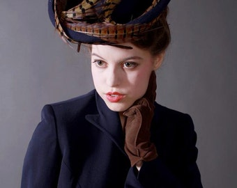 Custom Order: 1940's-Style Felt Tilt Hat with Ringneck Pheasant Tail Feathers
