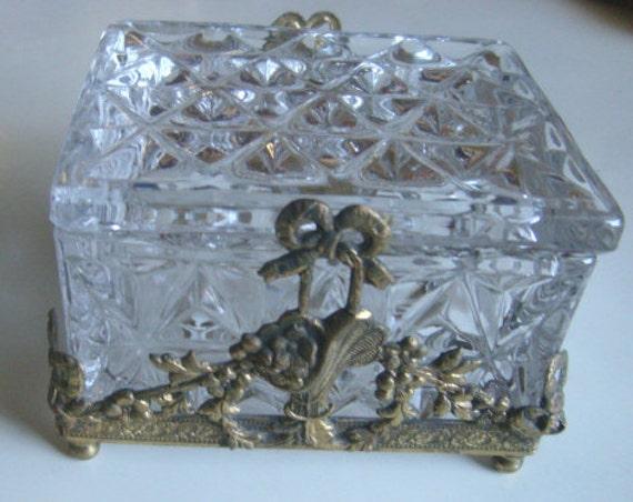 vintage footed gold metal Filigree ORMOLU JEWELRY BOX glass French Trinket Vanity floral baskets