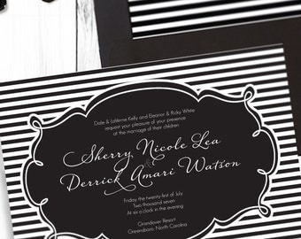 Black and White Striped Wedding: Invitation - Customizable - Black and White - Striped - Elegant - Digital