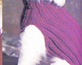1970's Knit Dog Sweater Pattern for Smaller Dog