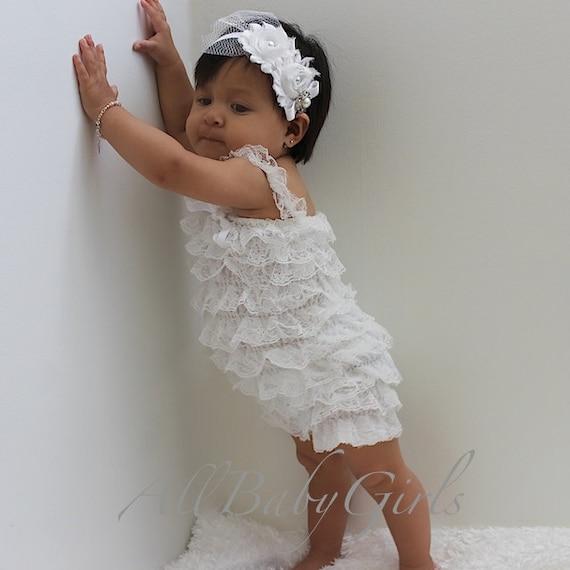 Baptism Baby Romper, Newborn Romper, Baby Romper, Infant Romper, Elegant Romper, Baby Girl Clothes, Rompers for Girls, White Romper