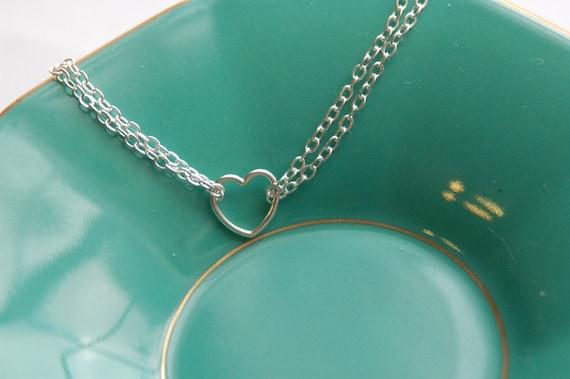Dainty heart bracelet, Sterling silver heart bracelet