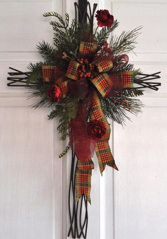 Christmas Cross Door Hanger Wall Decor Christian By