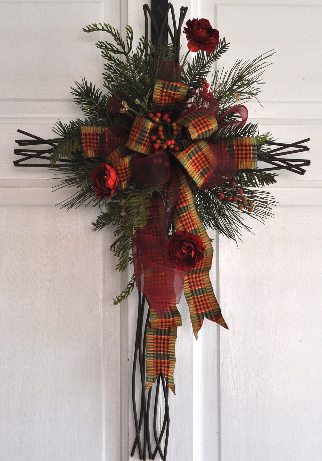 Christmas cross door hanger wall decor christian hostess gift for Decoration 4 christmas
