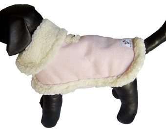 Dog Coat - Pink Dog Coat lined with Sherpa