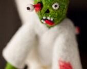 Zombie Angel Christmas Tree Topper, Needle Felted OOAK Art Doll