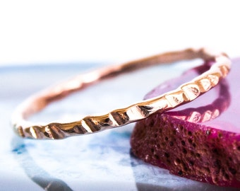 Hammered Thin Rose Gold Stacking Ring