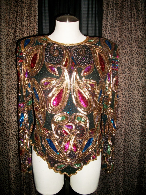 Vintage 1980's Multi-Colored Sequined & Beaded Top