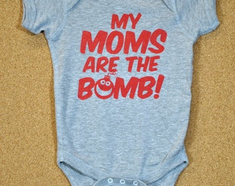 My Moms Are the Bomb - Baby Bodysuit - Heather Gray