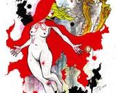 "Little Red Riding Hood - 11""x17"" Art Print - Fairy Tale"