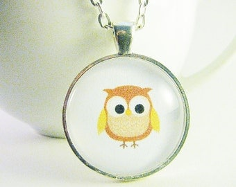 Brown Owl Pendant, Cute Owl Necklace, Cabochon Art Pendant