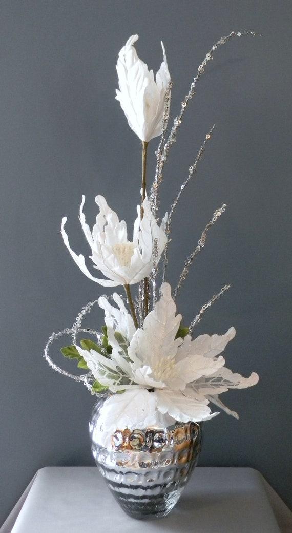 Reserved listing for terece elegant winter centerpiece