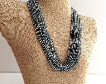 Charcoal necklace, grey necklace, statement necklace, boho, multistrand, beaded necklace, silver and gold necklace