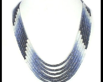 Blue Sapphire Faceted (Shaded ) Beads Necklace