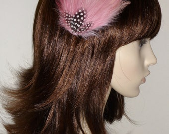 Rose Pink Fascinator HAIR CLIP Bridesmaids Hair Accessory Handmade Black White Wedding Headpiece 'Gwen'