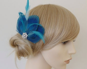 Turquoise Blue Peacock Feather Hair Clip Crystal Fascinator Wedding Bridal Bridesmaid Hair Accessory 'Lizbeth''