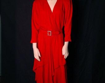 Miranda - Ruby Red Dress w/belt