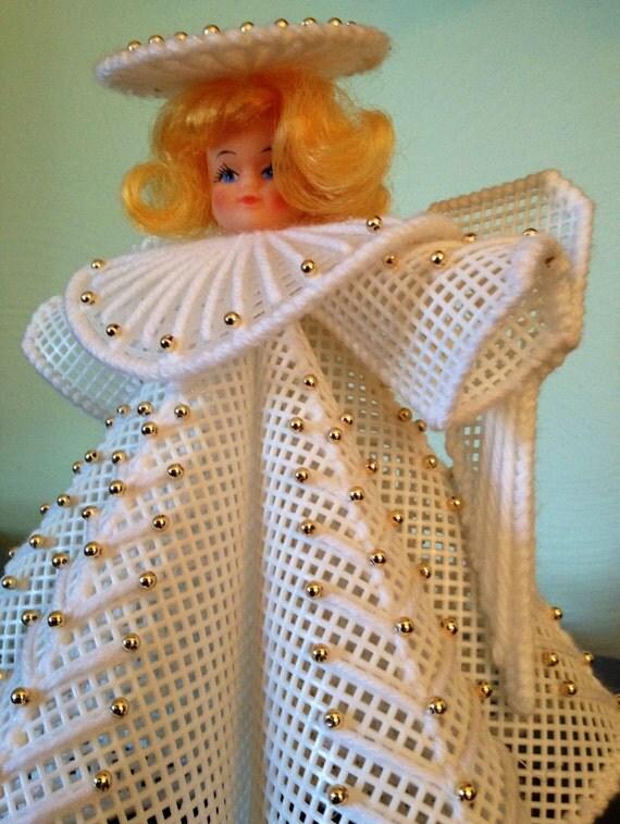 Vintage Handmade Christmas Angel Plastic By Thebouchardsisters