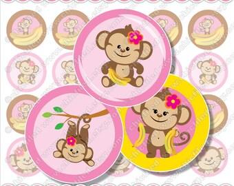 """Bottle cap image Cupcake topper 1 inch circles Cute Monkey girl Pink brown Yellow Banana Printable 4x6"""" Digital Collage Sheet DIY cf00017-1"""