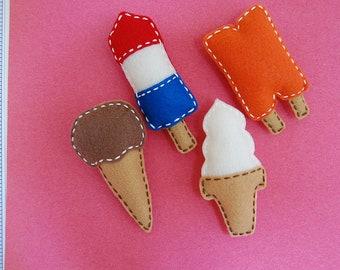 Felt magnets. Stuffed felt ice cream magnets.  Set of 4.