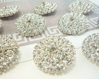 Round Silver Rhinestone Button (25mm, 10pcs)