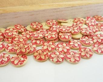 Painted Wood Sewing Buttons Flower Motif Design (15mm 12pcs set)