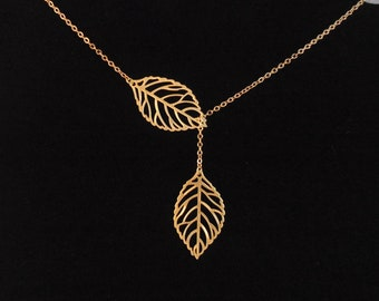 leaves lariat necklace , double leaf necklace , gold leaf necklace , two leaf necklace , twin leaf necklace