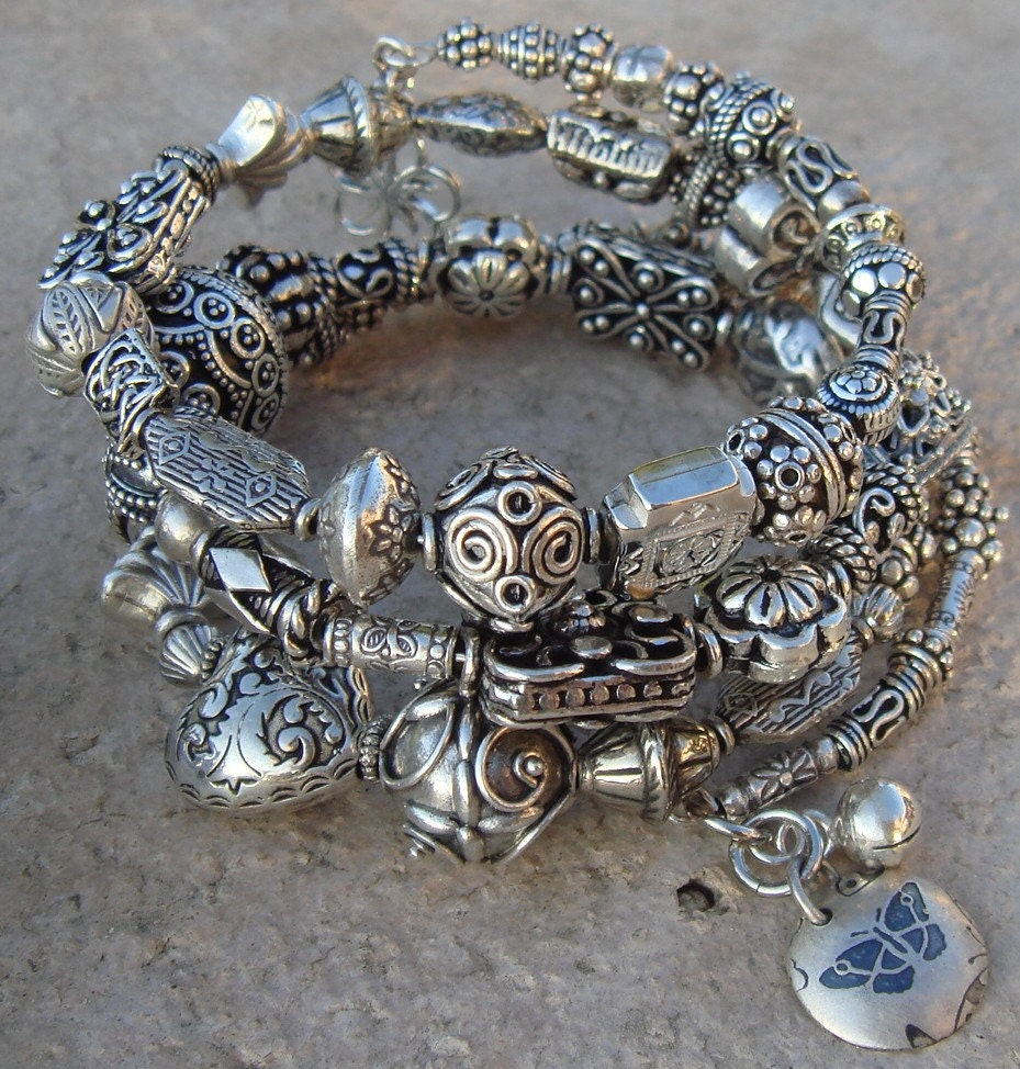 Sterling Silver Bali Bead Bangle Bracelet One-of-a-kind