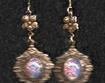 Vintage-Style Earrings with Vintage Opal Glass Cabs