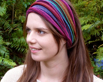 Bright Rainbow Hand Dyed Tribal Striped  Headwrap