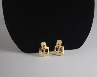 Vintage Gold Plated Clip On Earrings 1960s