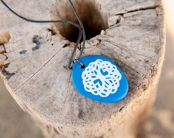 Celtic Tree of Life Pendant Hand Painted on Beach Stone