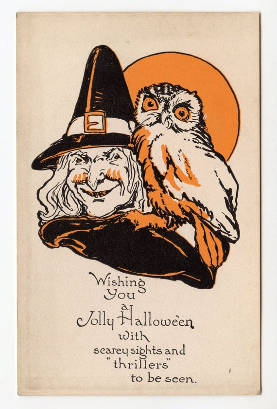 halloween, vintage halloween postcard, witch, owl, full moon