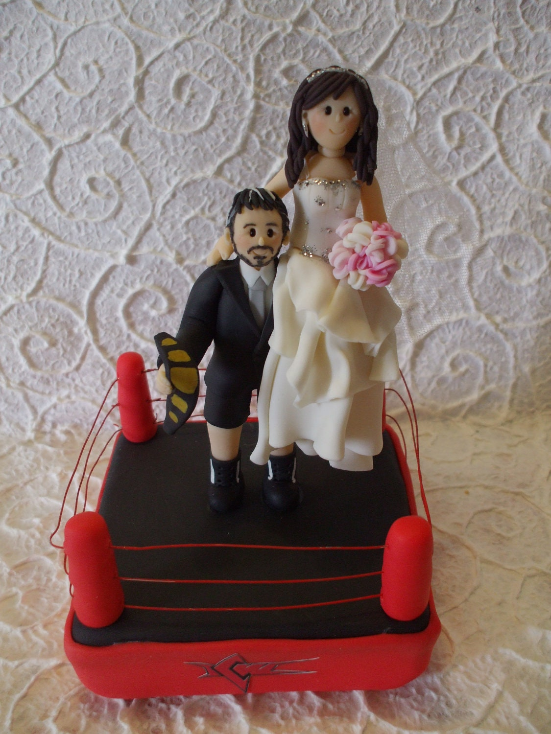 Wrestling Bride And Groom Cake Topper