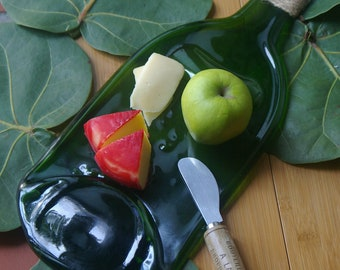 Large flat wine bottle cheese tray - slumped glass