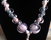 Heart necklace, Pink and Grey beads and ribbon