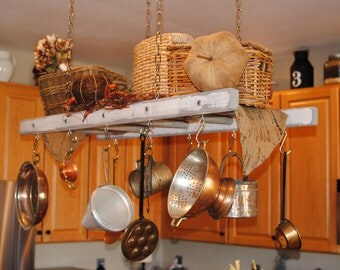 White with Gray Distressing Rustic Ladder Pot Rack, Farmhouse Pot Rack and Ladder, Cottage Chic Kitchen Decor