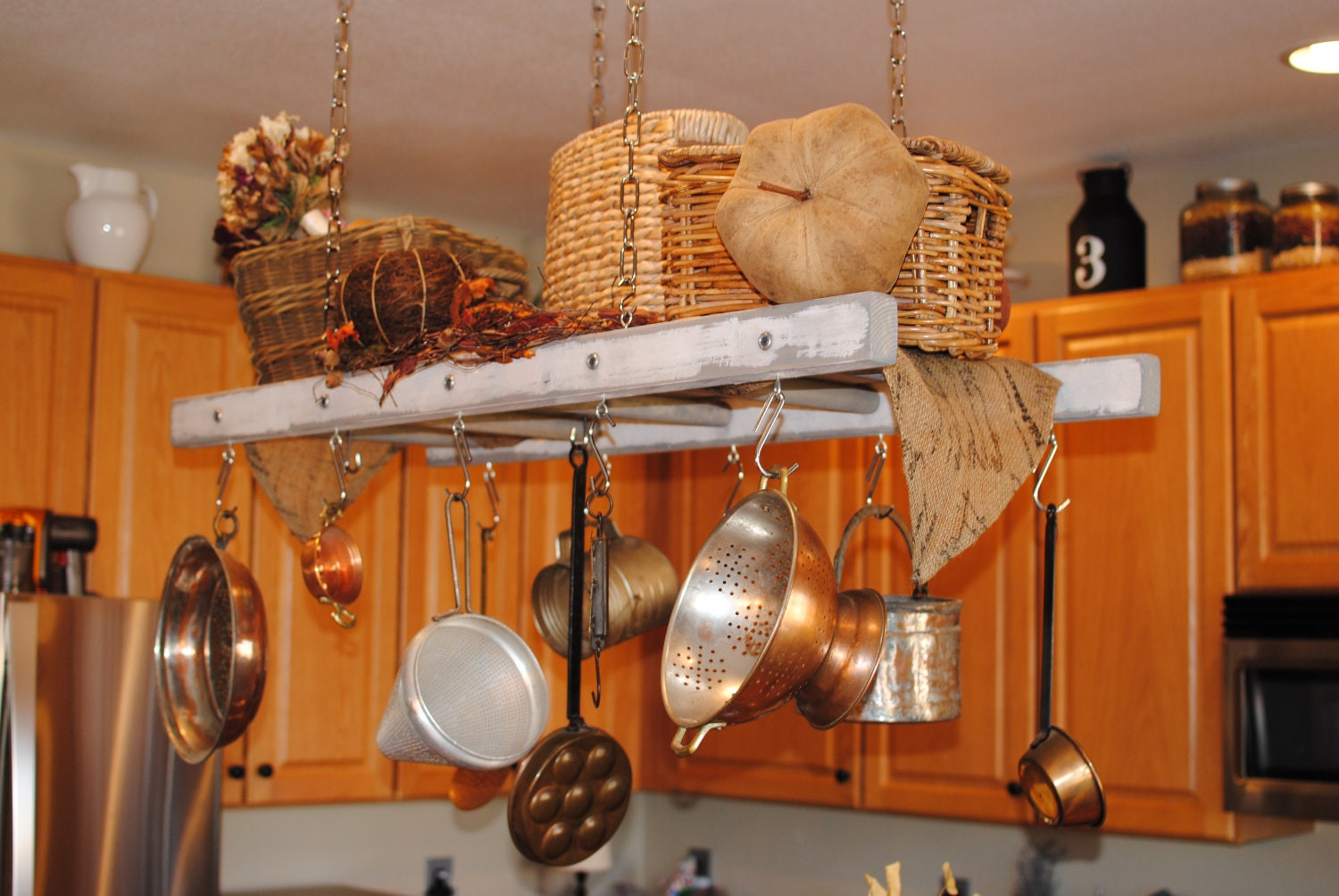 White with gray distressing rustic ladder pot rack farmhouse for Reclaimed wood pot rack